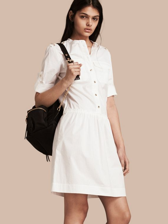 Military-inspired Cotton Blend Shirt Dress White