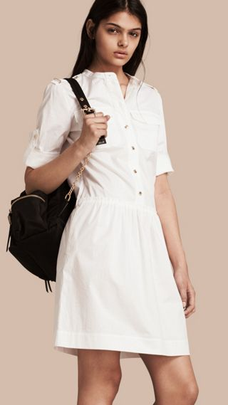Military-inspired Cotton Blend Shirt Dress