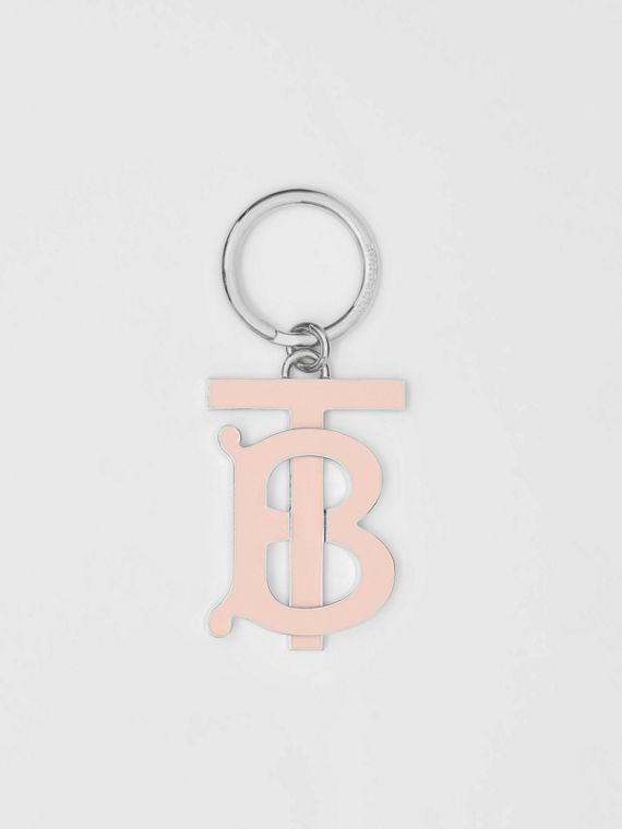 Monogram Motif Gold-plated Key Charm in Rose Beige