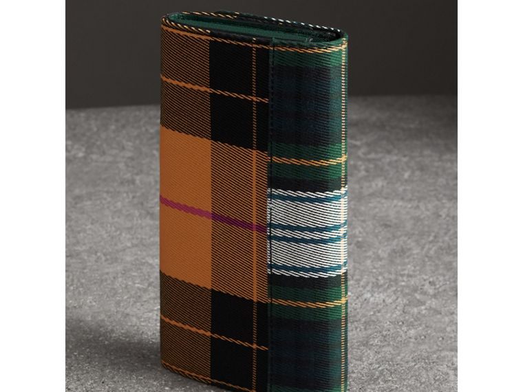 Tartan Cotton and Leather Wallet with Chain in Green/multicolour - Women | Burberry - cell image 4