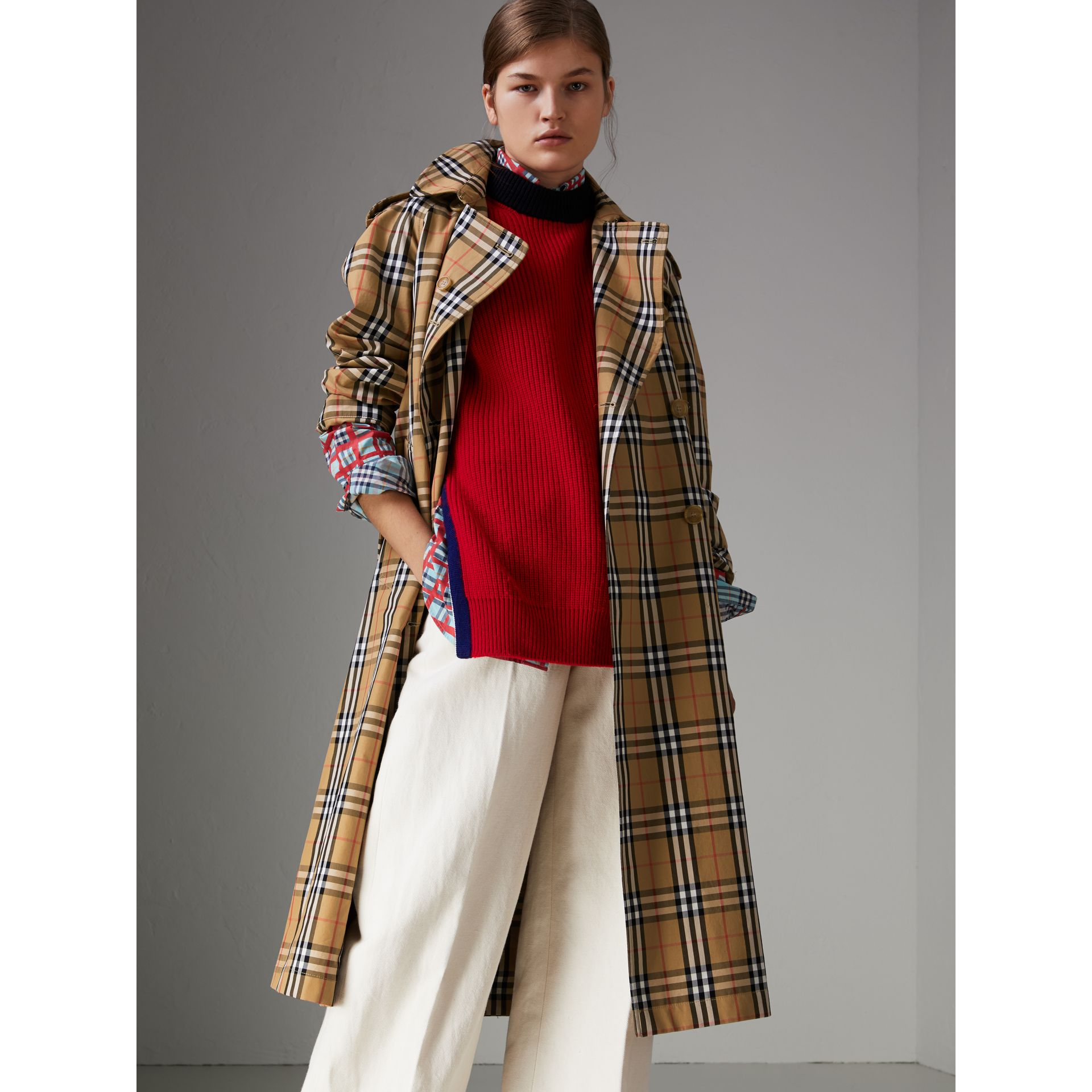 Vintage Check Cotton Trench Coat in Antique Yellow - Women | Burberry Hong Kong - gallery image 0