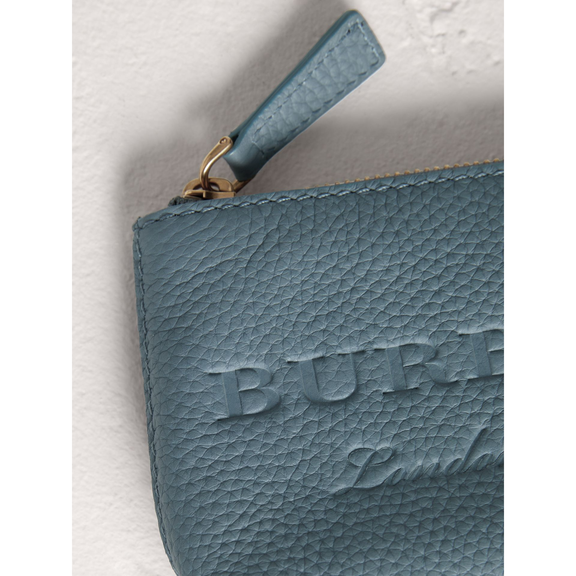 Small Embossed Leather Zip Pouch in Dusty Teal Blue | Burberry - gallery image 1