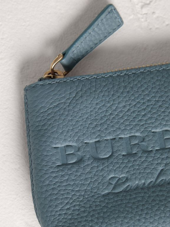 Small Embossed Leather Zip Pouch in Dusty Teal Blue | Burberry United Kingdom - cell image 1