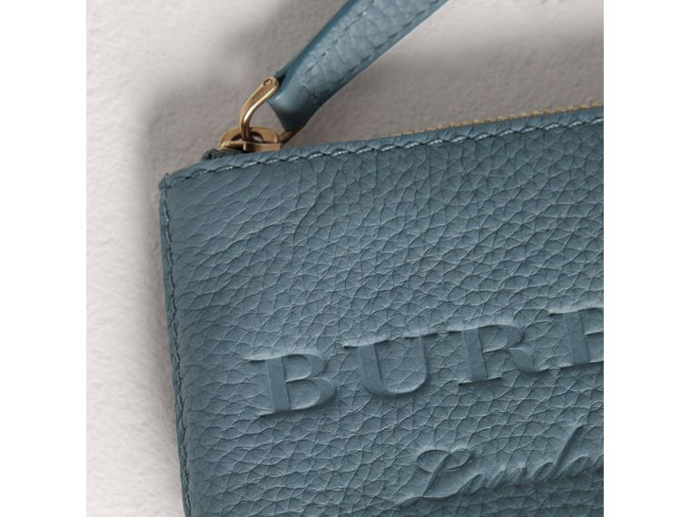 Small Embossed Leather Zip Pouch in Dusty Teal Blue | Burberry - cell image 1