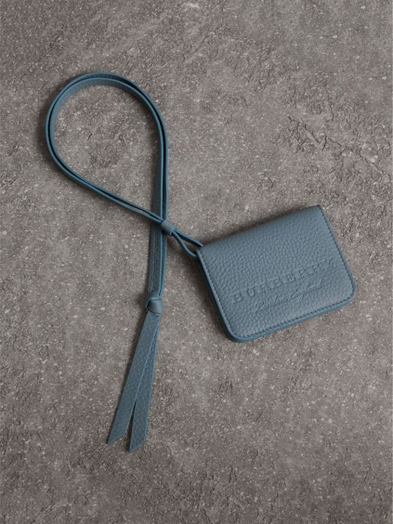 Embossed Leather ID Card Case Charm in Dusty Teal Blue