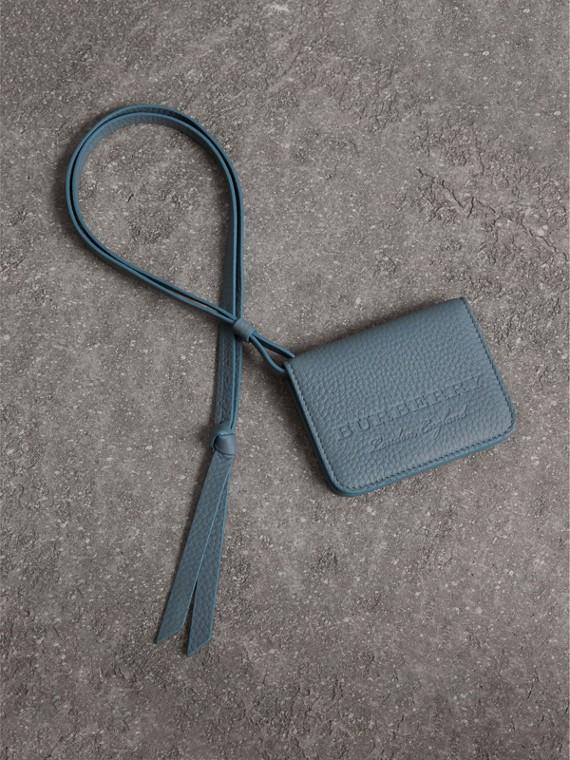 Étui porte-clés en cuir estampé (Bleu Canard Cendré)