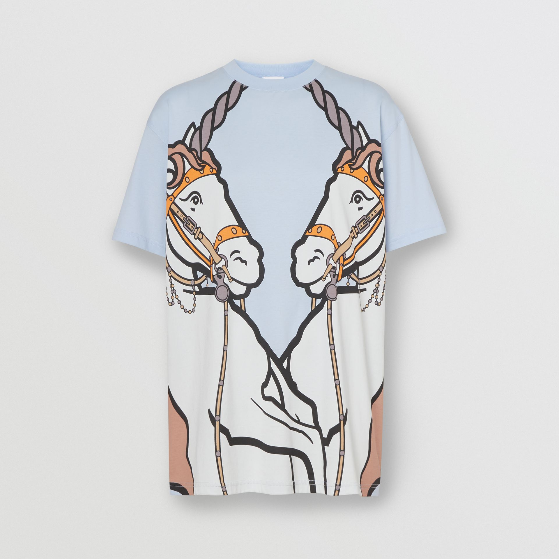 Unicorn Print Cotton Oversized T-shirt in Pale Blue - Women | Burberry United Kingdom - gallery image 3