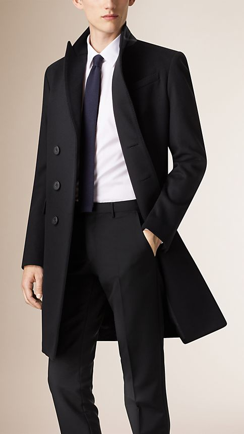 Black Wool Cashmere Peak Lapel Topcoat - Image 3