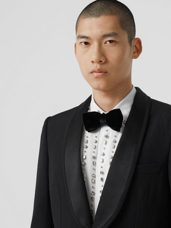 English Fit Silk Trim Wool Tailored Jacket in Black - Men | Burberry - cell image 1