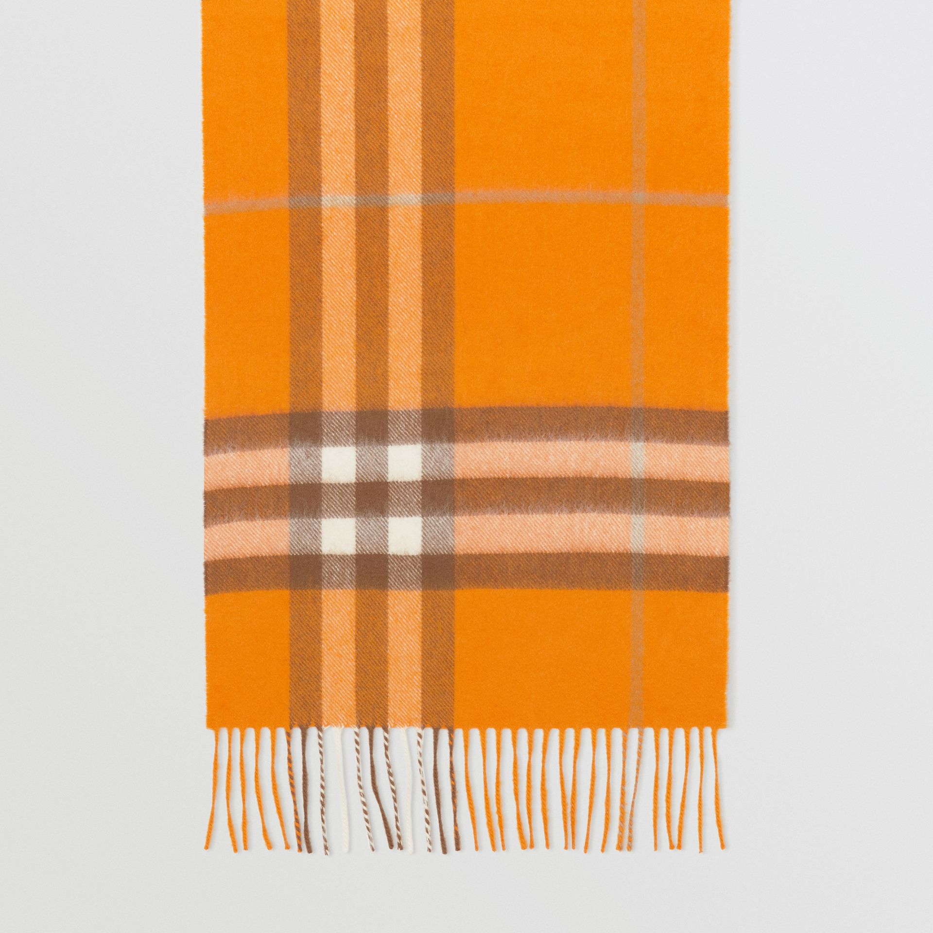 The Classic Check Cashmere Scarf in Orange | Burberry - gallery image 4
