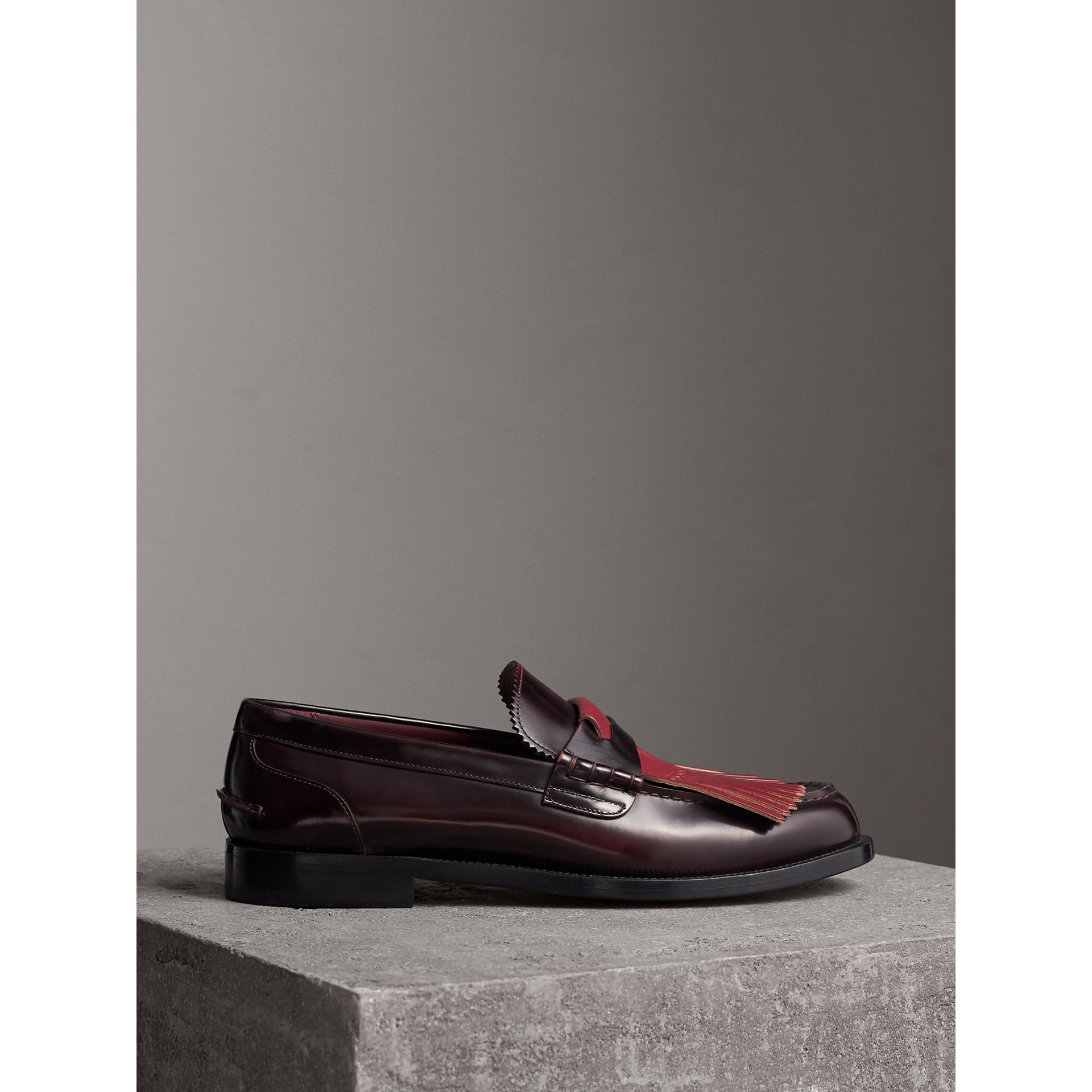 Contrast Kiltie Fringe Leather Loafers in Rust Red/red Claret - Men | Burberry United Kingdom - gallery image 4