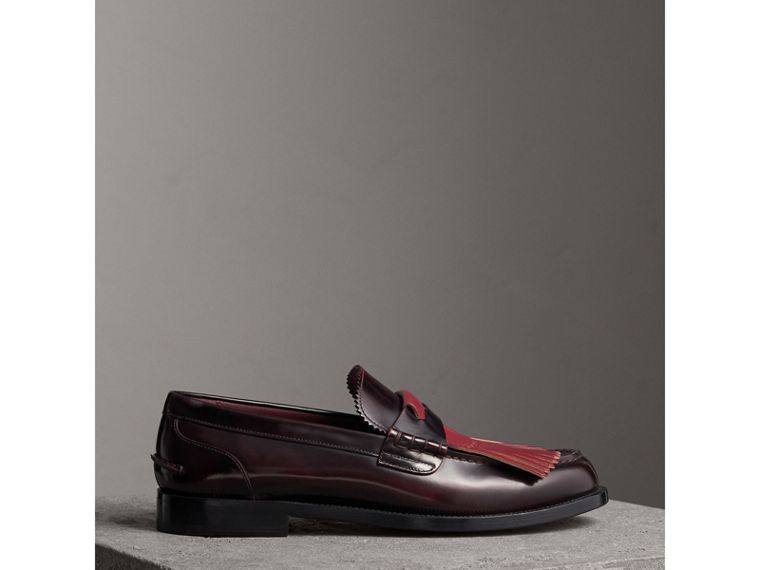 Contrast Kiltie Fringe Leather Loafers in Rust Red/red Claret - Men | Burberry Singapore - cell image 4