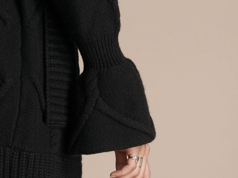 Black Cable Knit Wool Cashmere Cardigan Coat - cell image 4