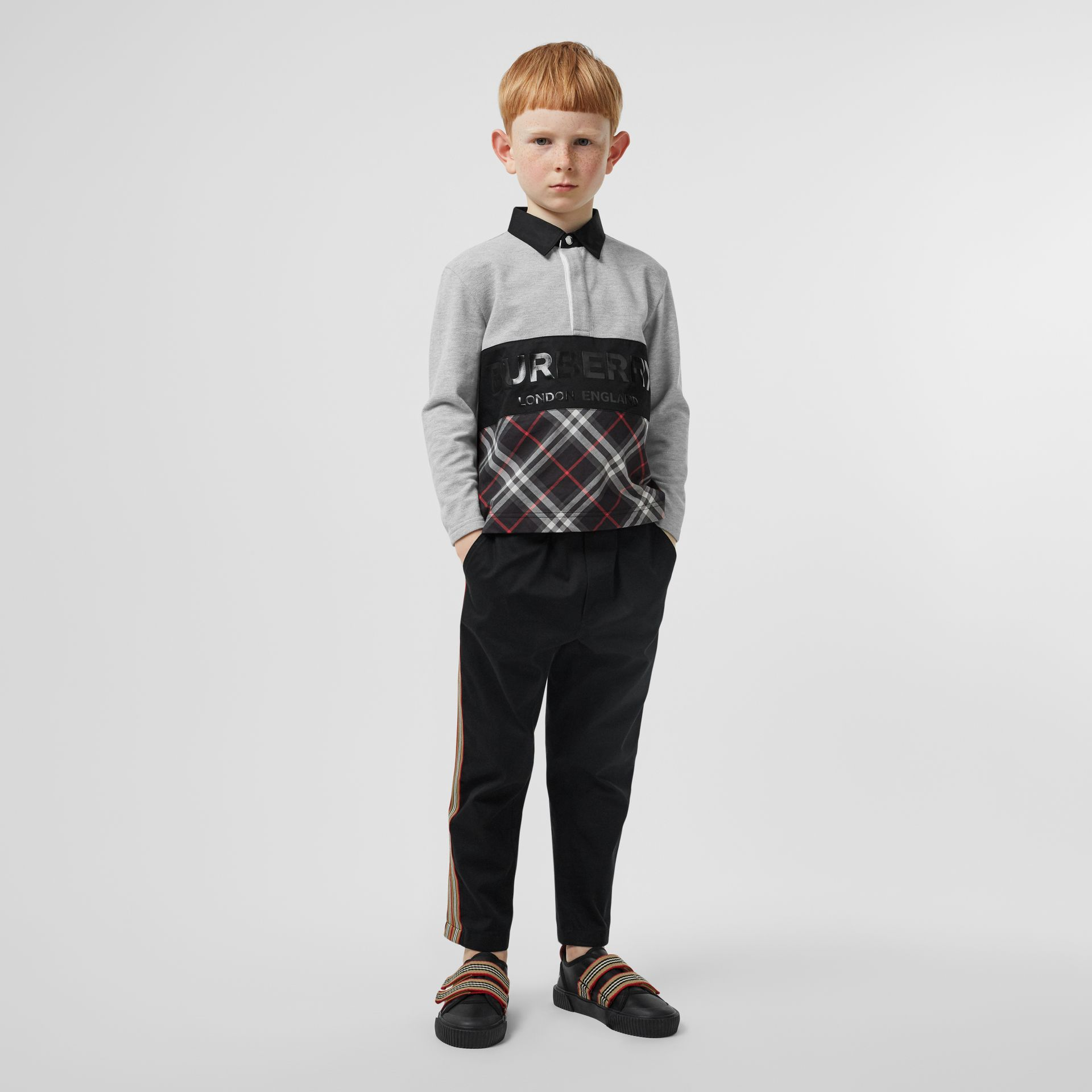 Long-sleeve Logo Print Check Panel Polo Shirt in Grey Melange | Burberry United Kingdom - gallery image 2