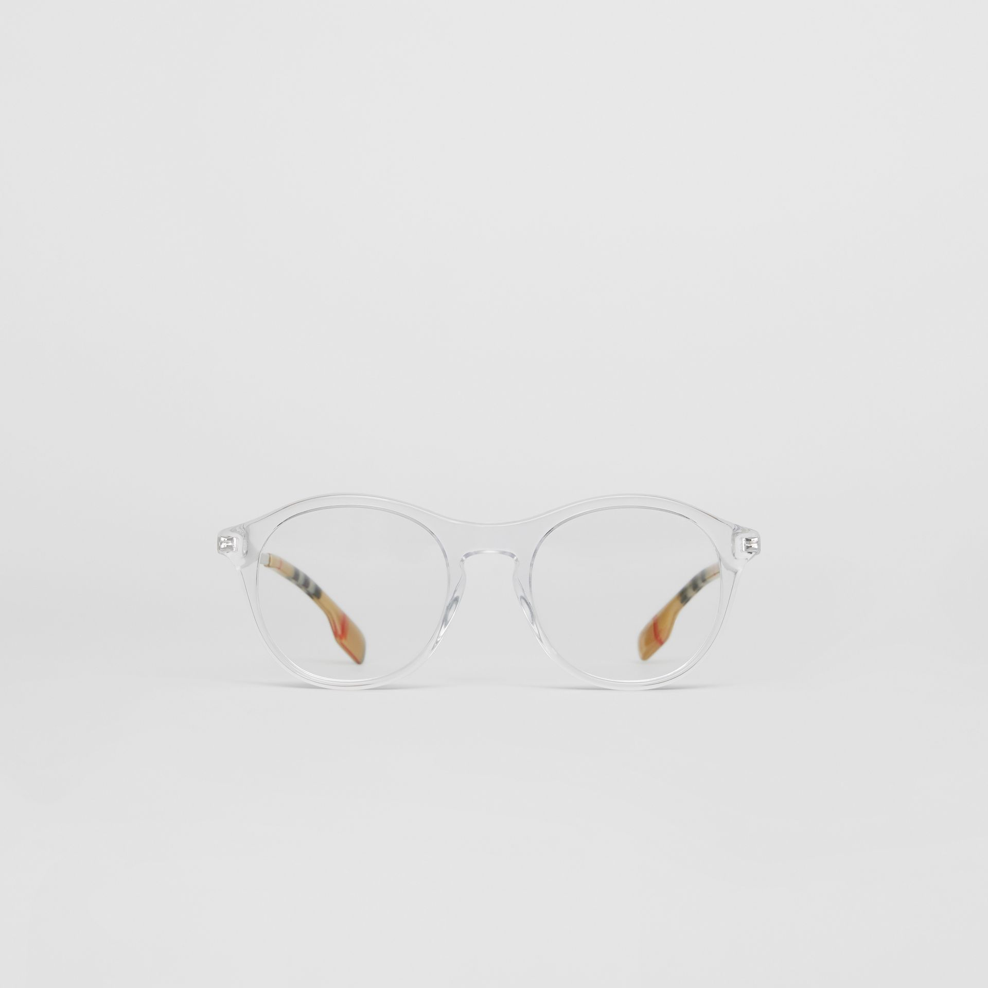 Runde Korrekturbrille mit Vintage Check-Detail (Kristall) - Damen | Burberry - Galerie-Bild 0