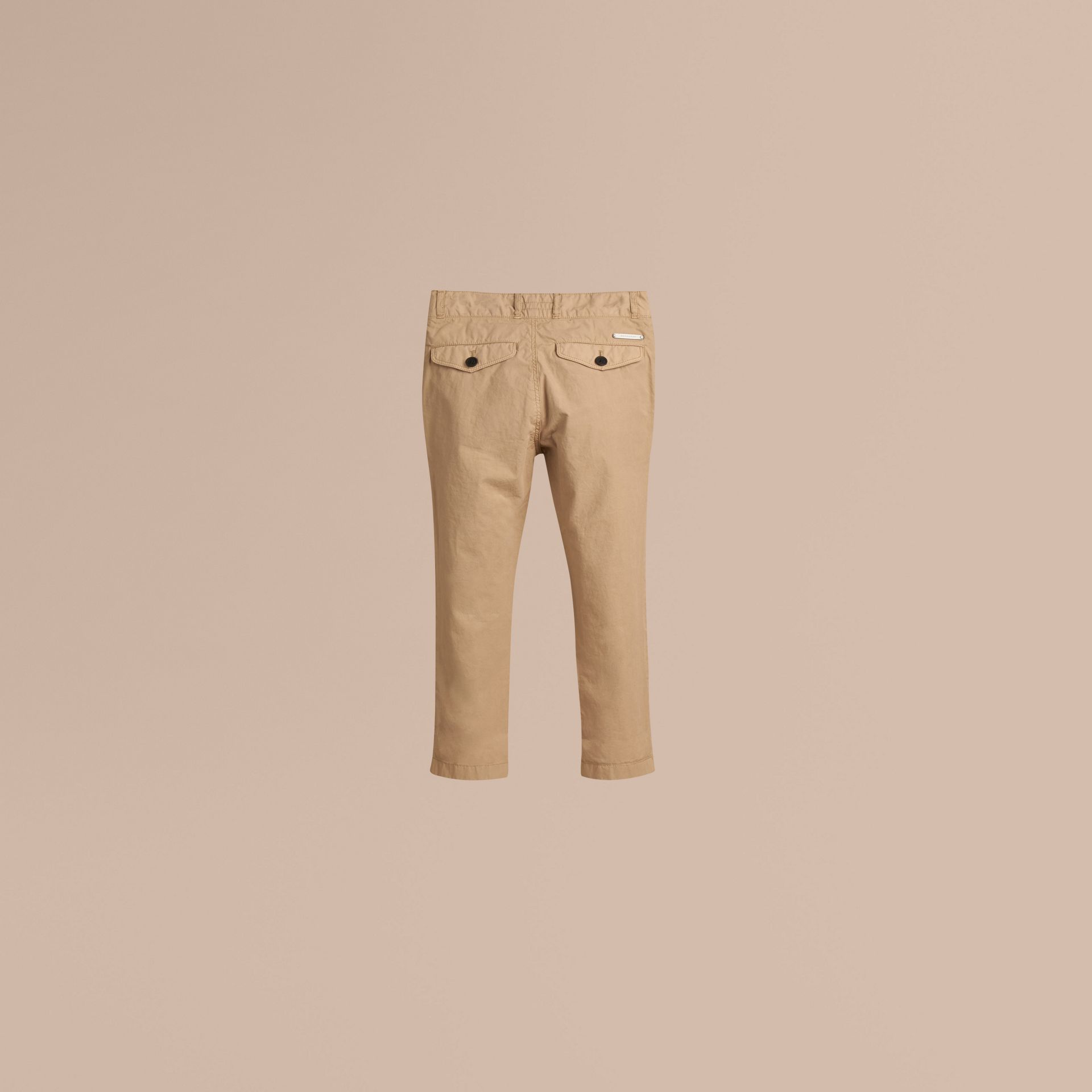 Miel Pantalon chino léger en sergé de coton - photo de la galerie 3