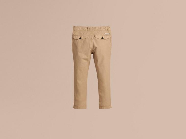 Miel Pantalones chinos en ligera sarga de algodón - cell image 2