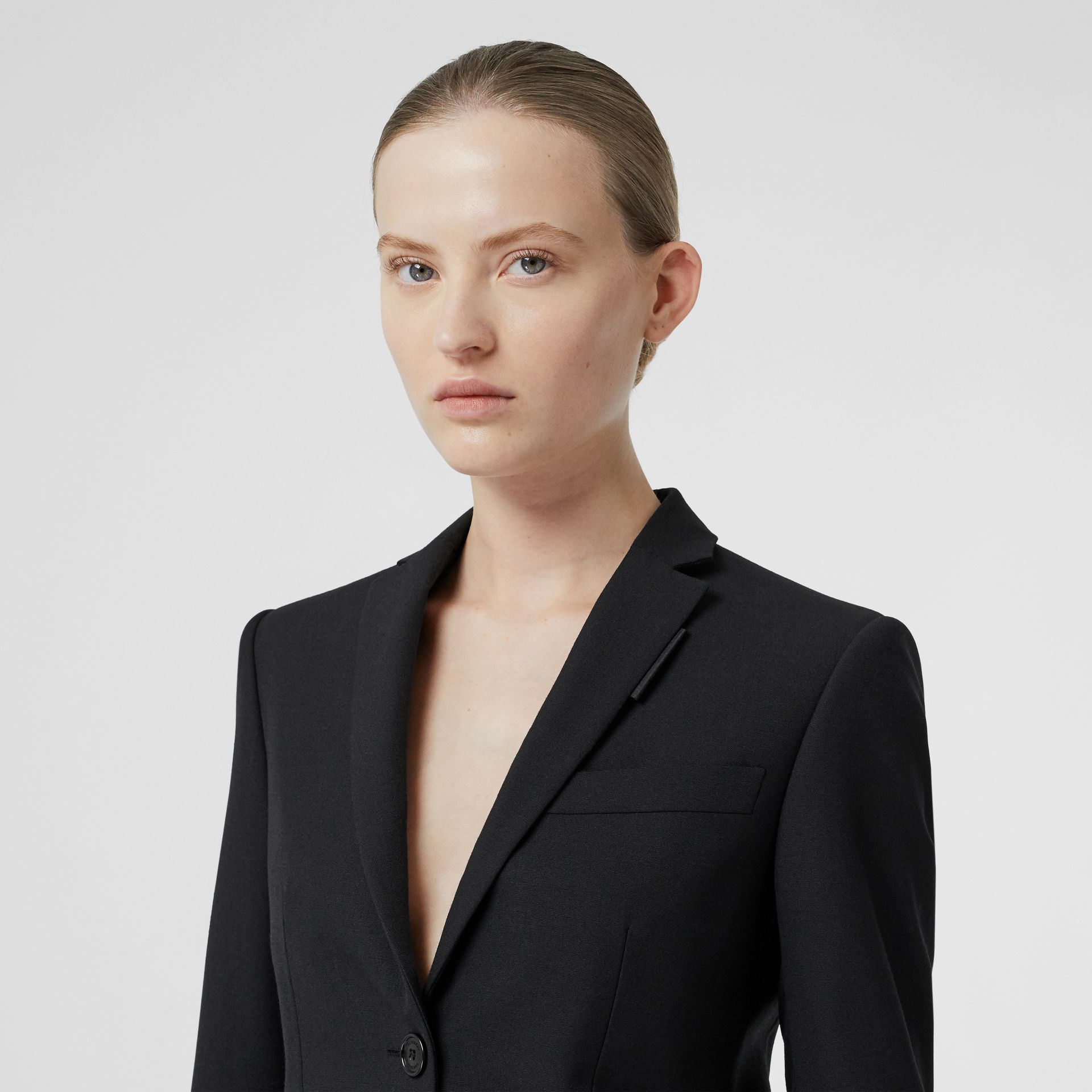 Leather Detail Wool Tailored Jacket in Black - Women | Burberry - gallery image 6