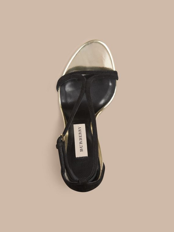 Platinum/black Slim Strap Suede Sandals - cell image 2