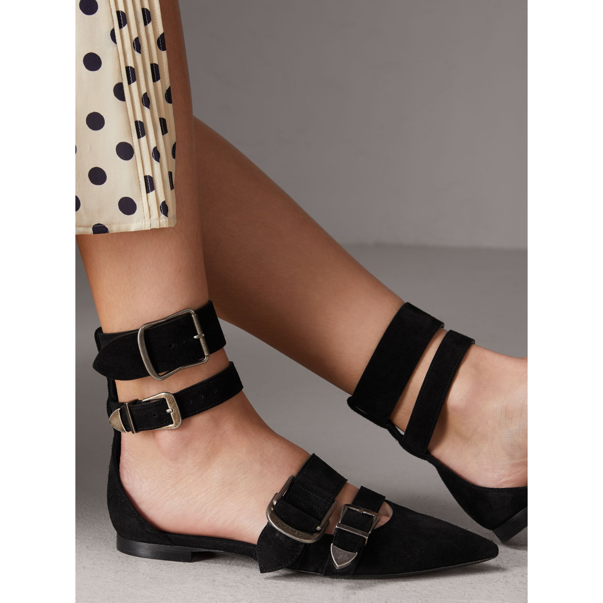 Buckle Detail Suede Point-toe Flats in Black - Women | Burberry Australia - gallery image 2