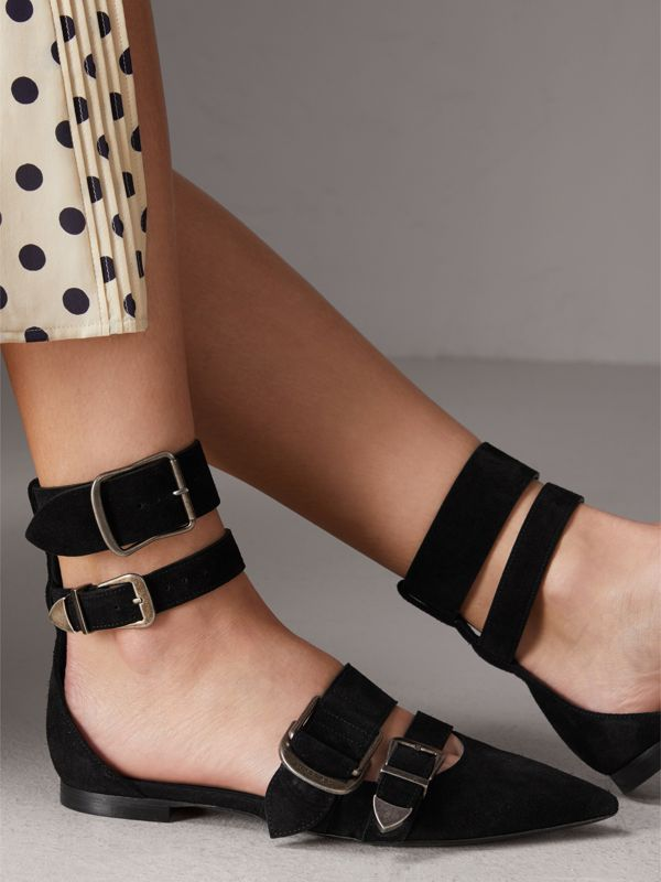 Buckle Detail Suede Point-toe Flats in Black - Women | Burberry United Kingdom - cell image 2