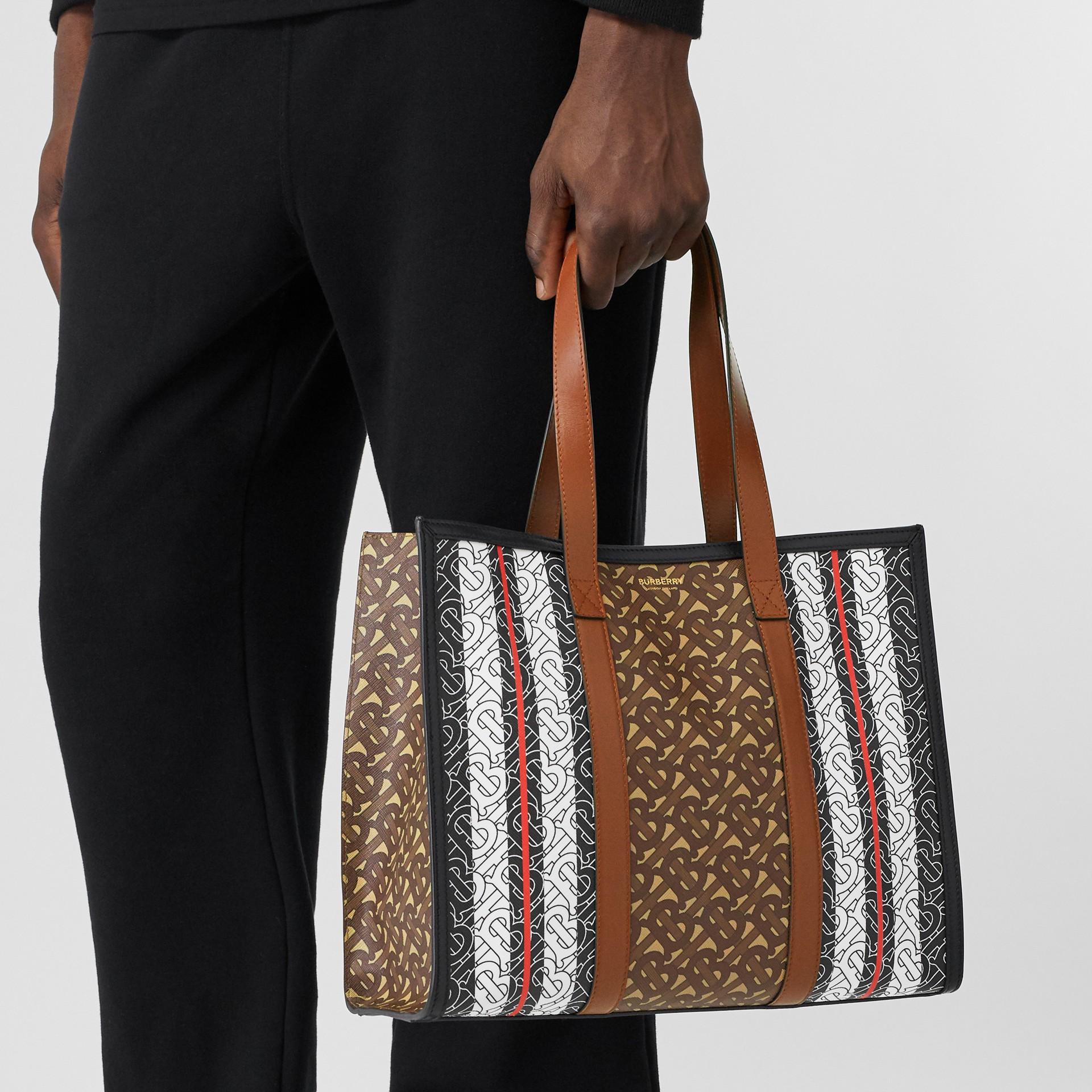 Small Monogram Stripe E-canvas Tote Bag in Bridle Brown - Women | Burberry Australia - gallery image 3