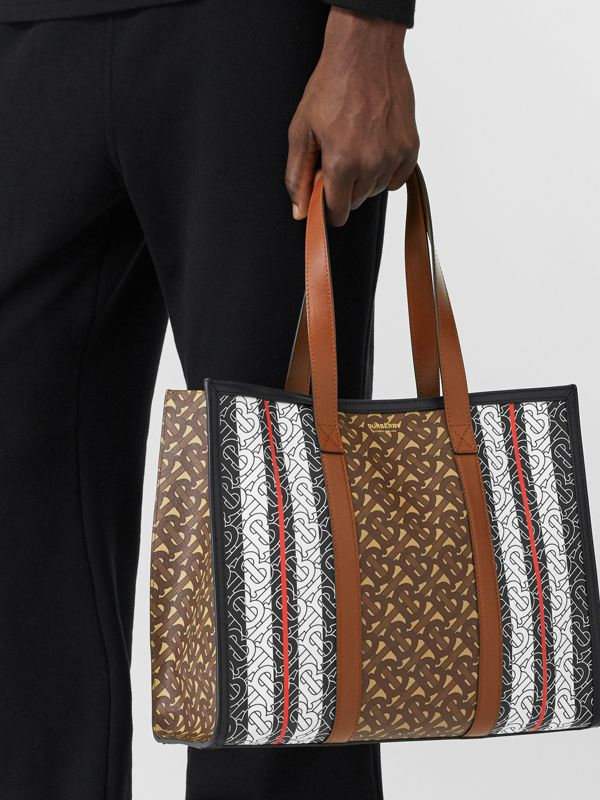 Small Monogram Stripe E-canvas Tote Bag in Bridle Brown - Women | Burberry - cell image 3