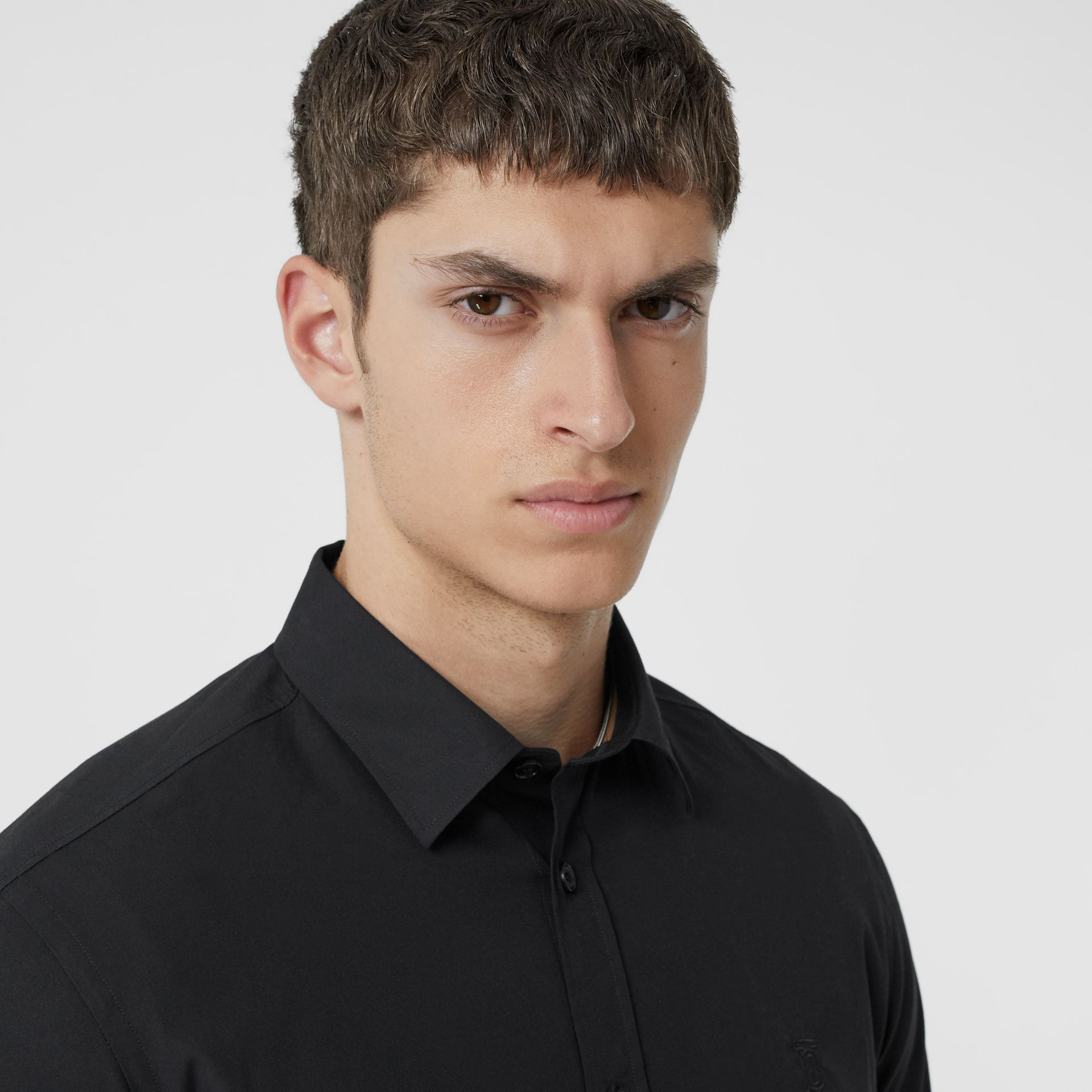 Monogram Motif Stretch Cotton Poplin Shirt in Black - Men | Burberry - gallery image 1