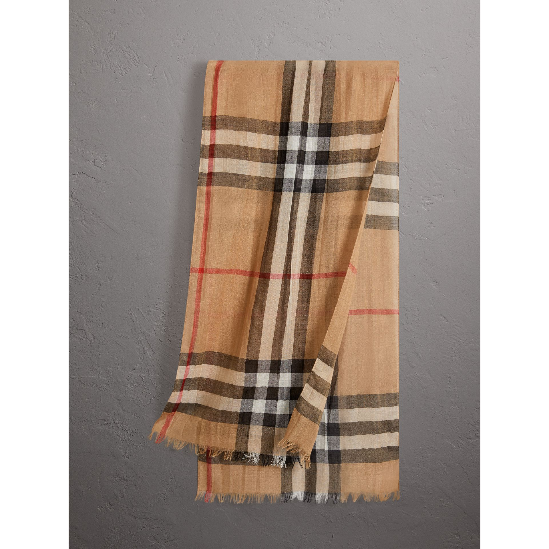 Exploded Check Wool Silk Scarf in Camel | Burberry United States - gallery image 0