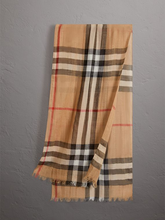Exploded Check Wool Silk Scarf in Camel