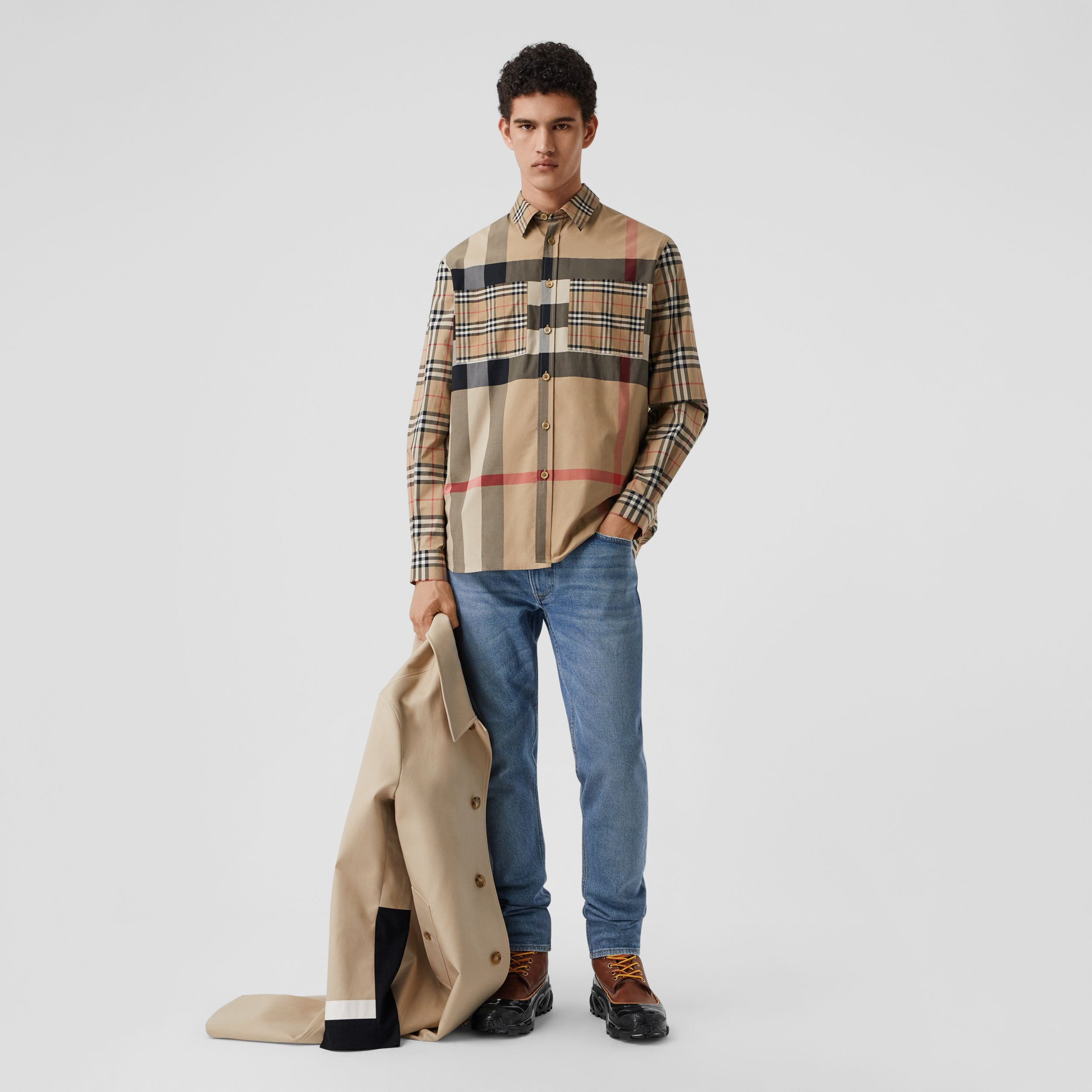 Patchwork Check Stretch Cotton Oversized Shirt in Archive Beige - Men | Burberry - 1