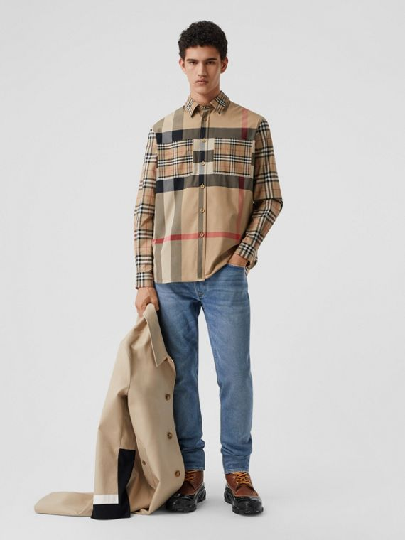 Patchwork Check Stretch Cotton Oversized Shirt in Archive Beige