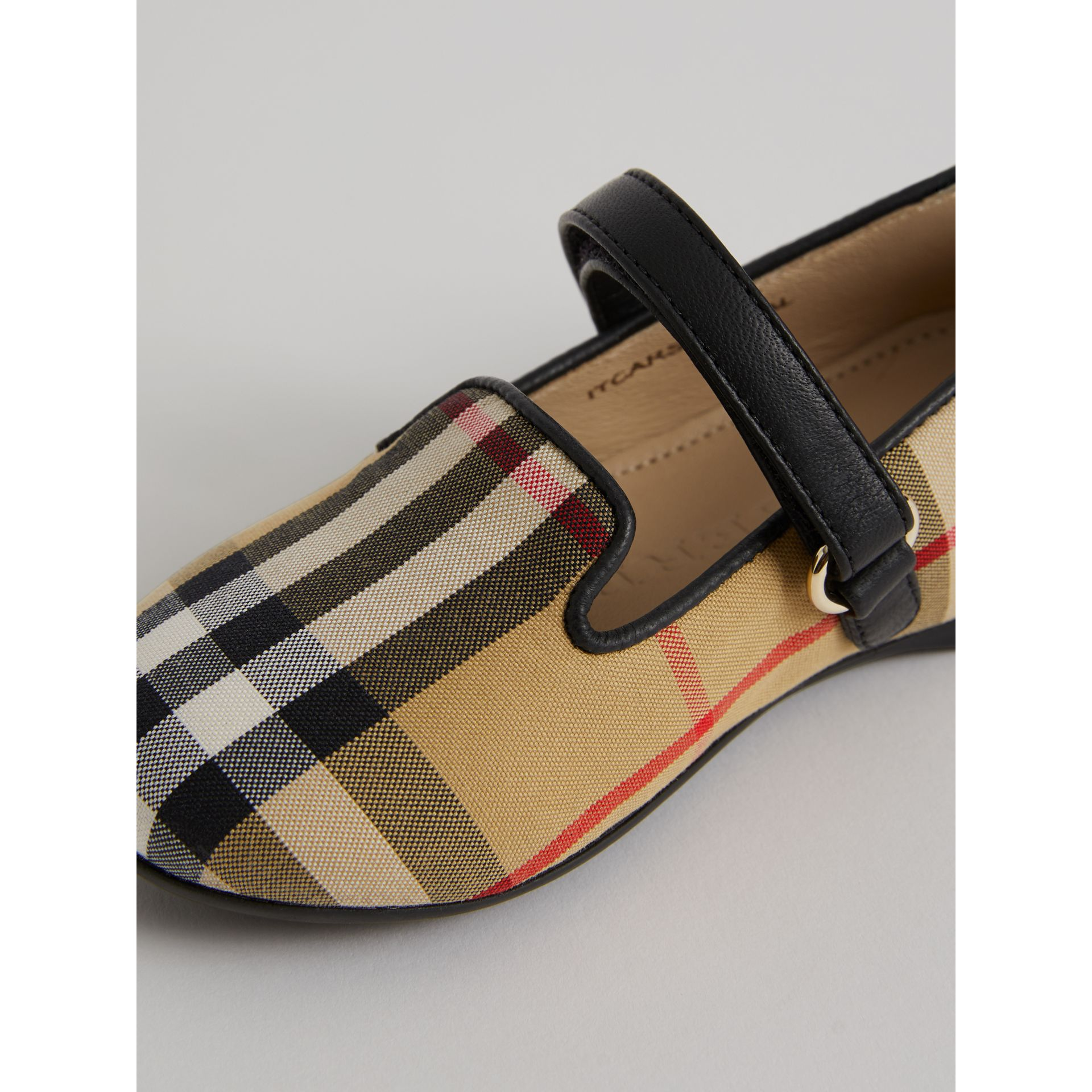 D-ring Strap Vintage Check Slippers in Antique Yellow | Burberry - gallery image 1