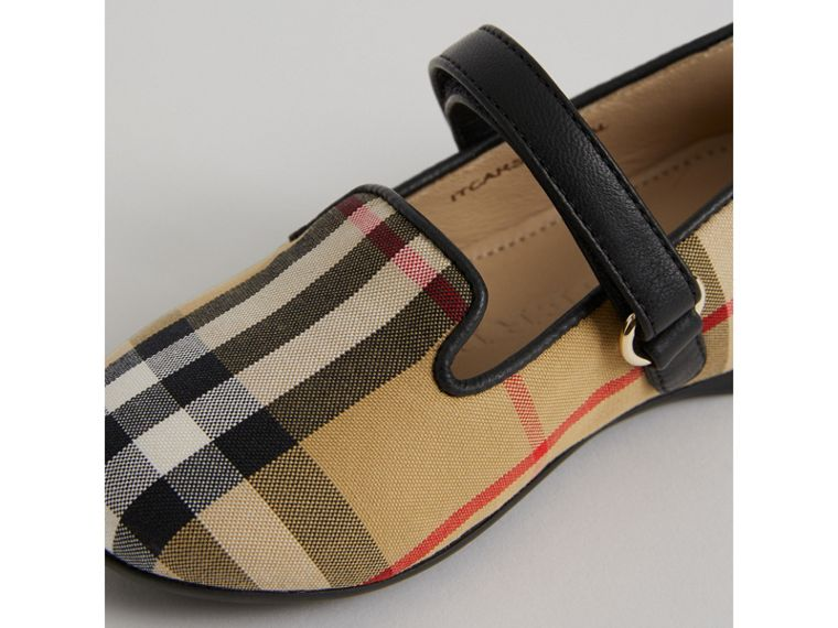 D-ring Strap Vintage Check Slippers in Antique Yellow | Burberry - cell image 1