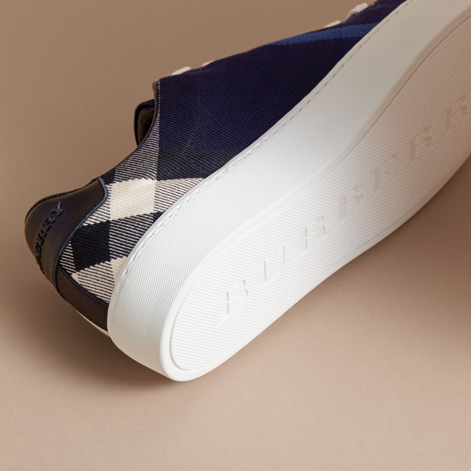 Overdyed House Check and Leather Trainers in Indigo Blue - Women | Burberry - gallery image 5
