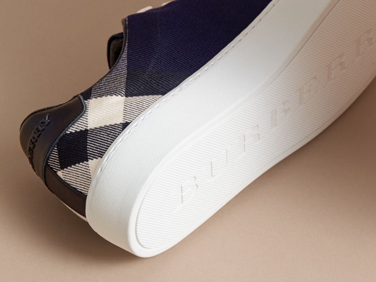 Overdyed House Check and Leather Trainers in Indigo Blue - Women | Burberry - cell image 4