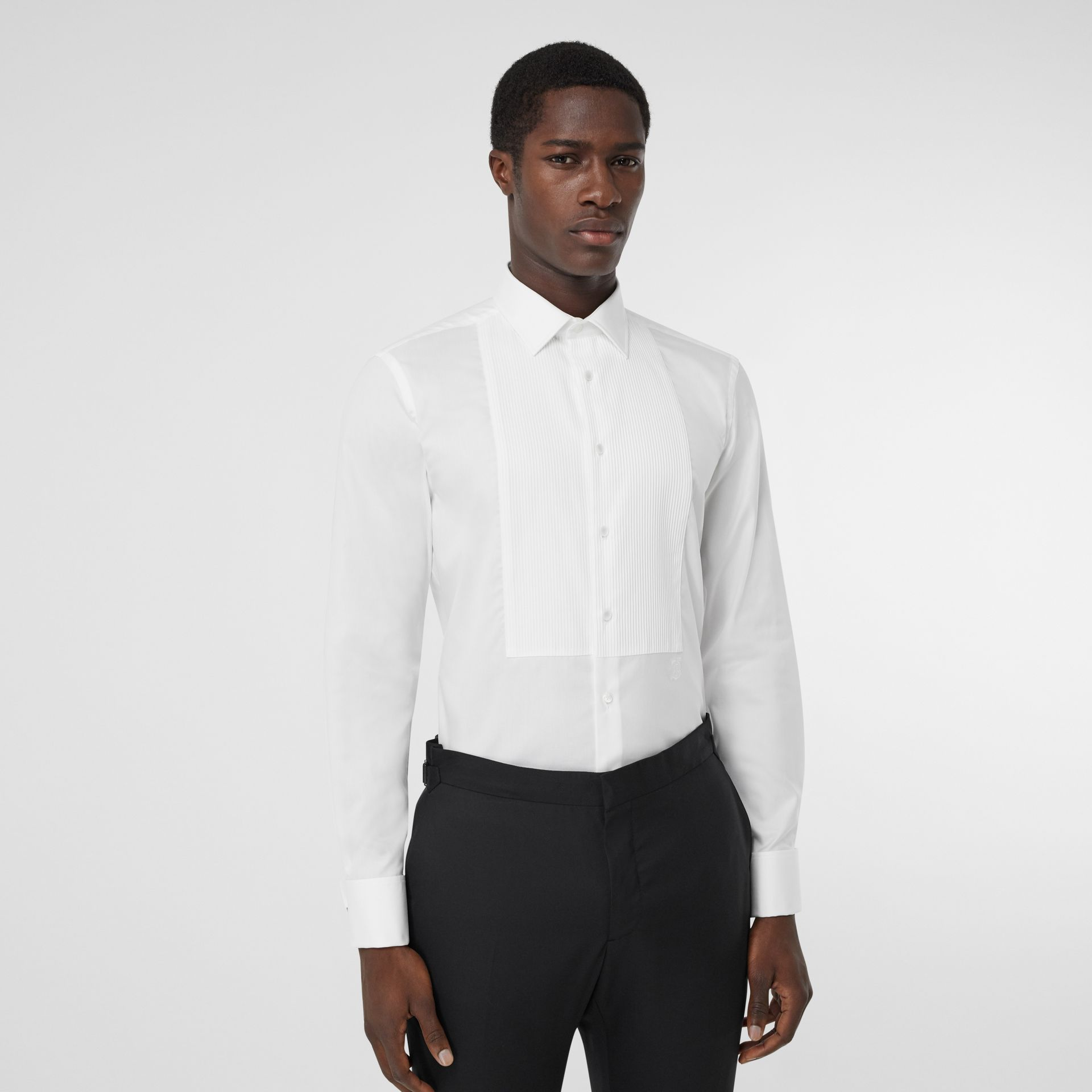 Ribbed Bib Cotton Oxford Dress Shirt in White - Men | Burberry - gallery image 6