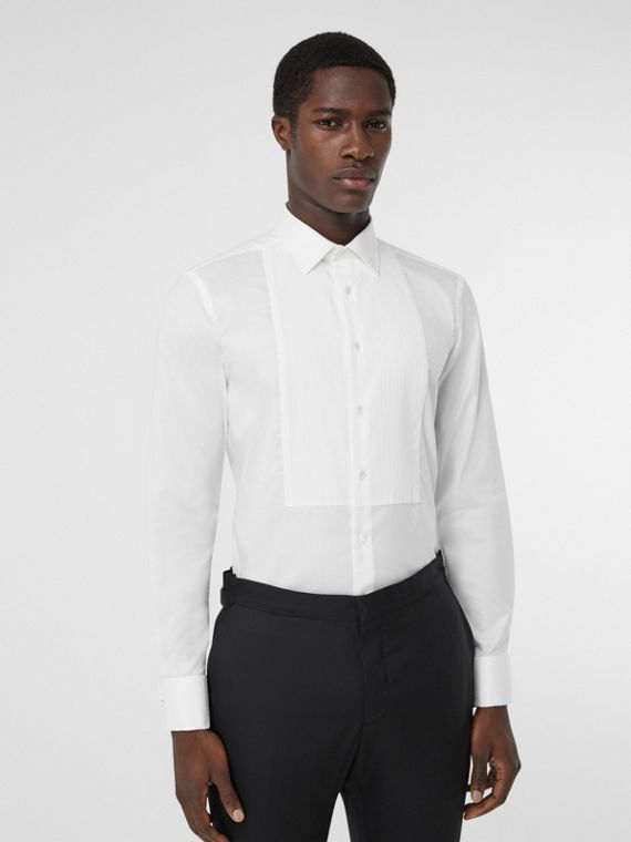 Ribbed Bib Cotton Oxford Dress Shirt in White