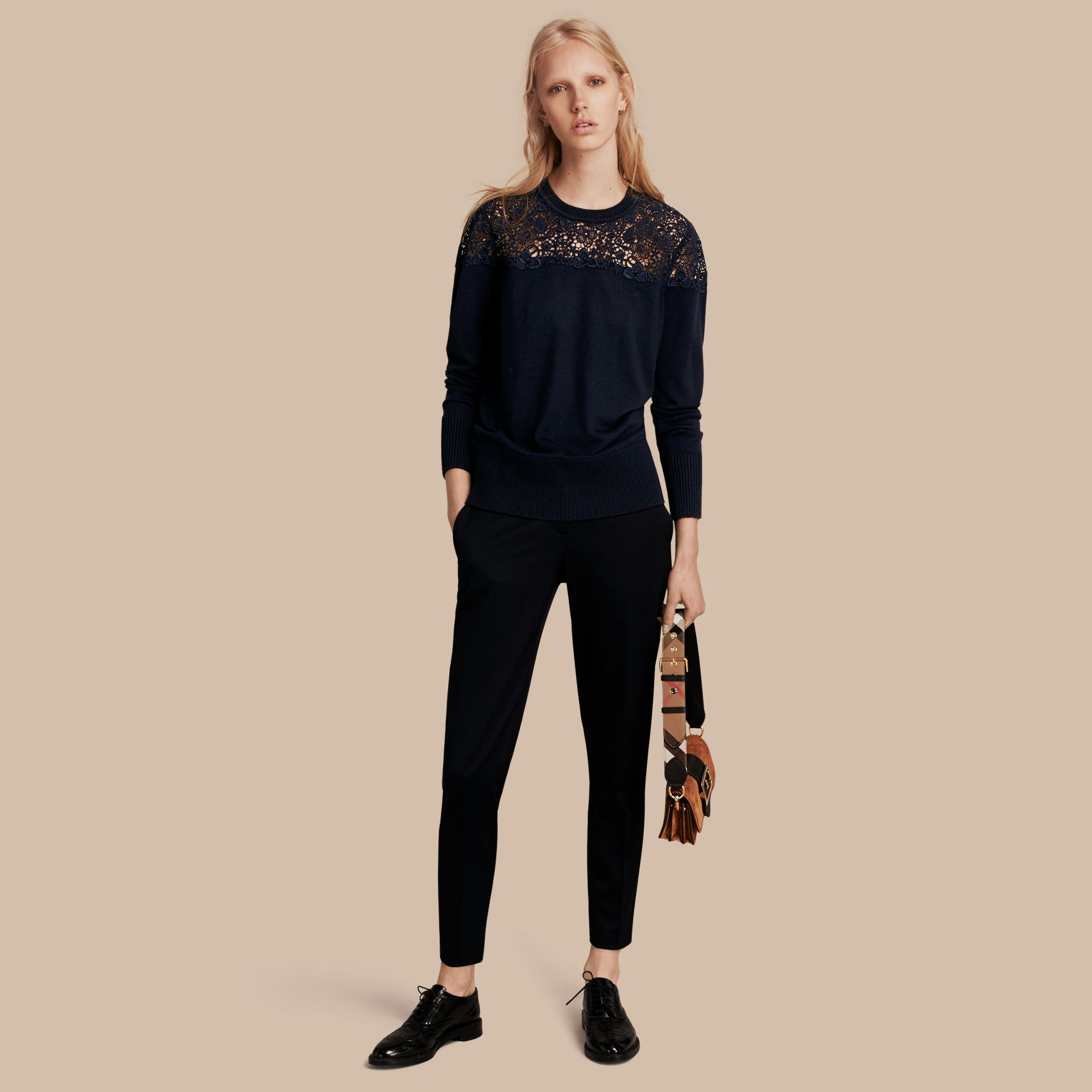 Navy Lace Yoke Merino Wool Sweater Navy - gallery image 1