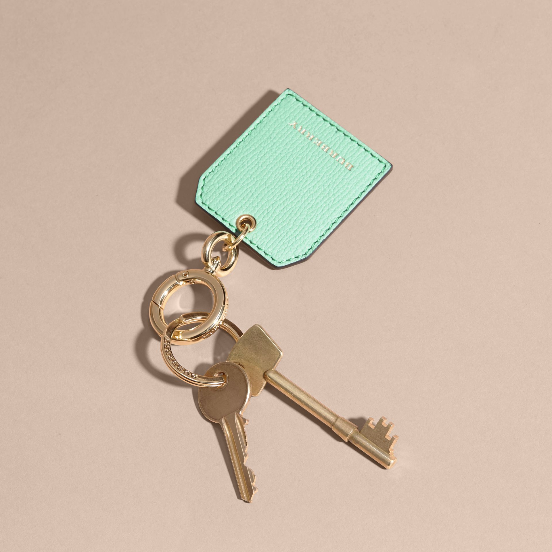 Grainy Leather Key Charm in Light Mint | Burberry - gallery image 3