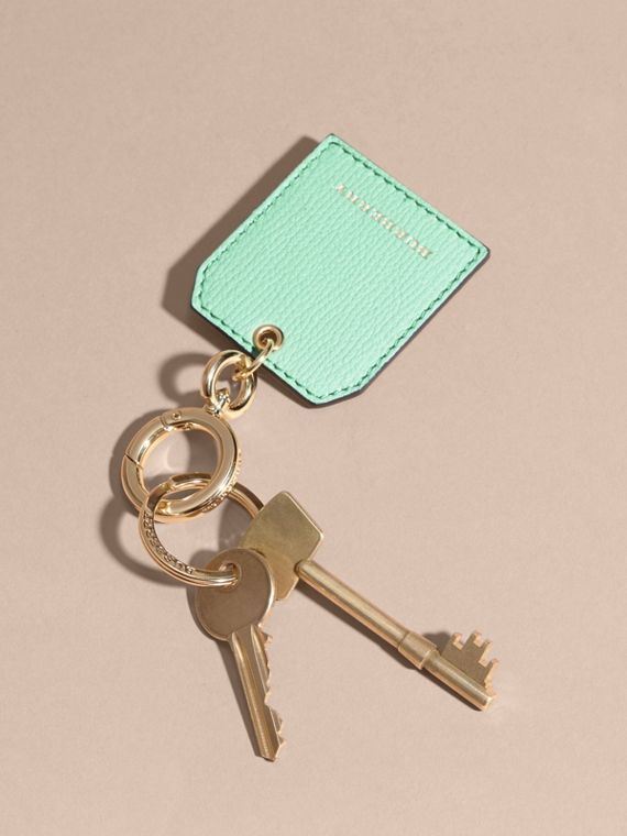 Grainy Leather Key Charm in Light Mint - Women | Burberry - cell image 2
