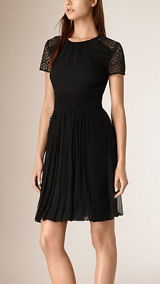 Macramé Lace Detail Silk Dress