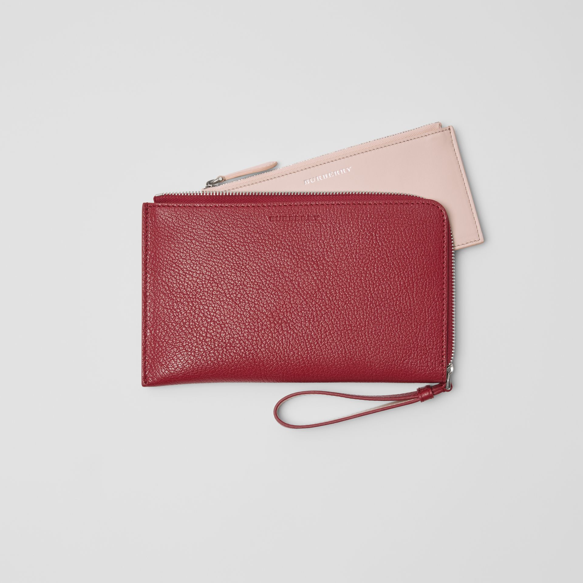 Two-tone Grainy Leather Travel Wallet in Crimson - Women | Burberry - gallery image 5