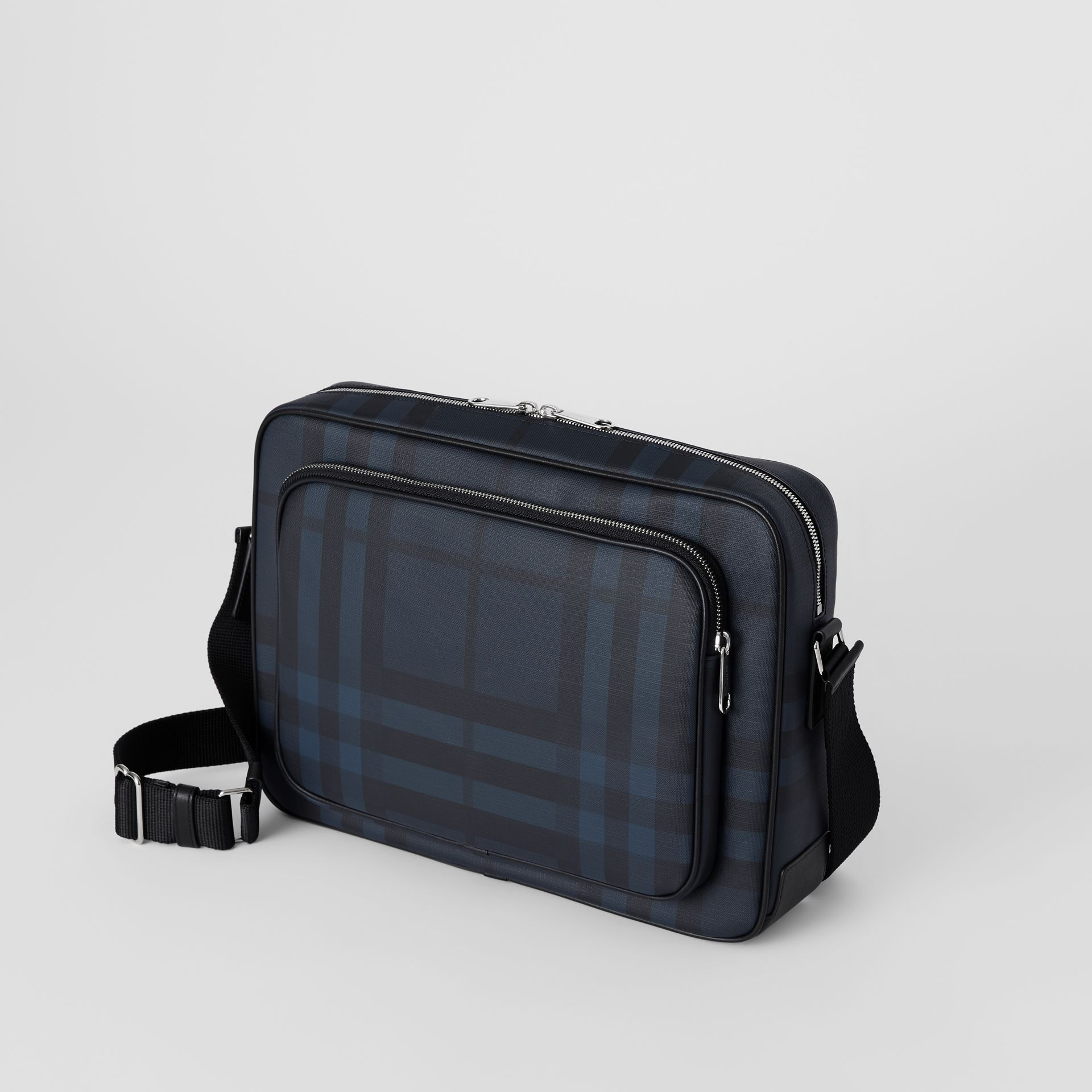 London Check Messenger Bag in Navy/black - Men | Burberry Hong Kong - gallery image 5