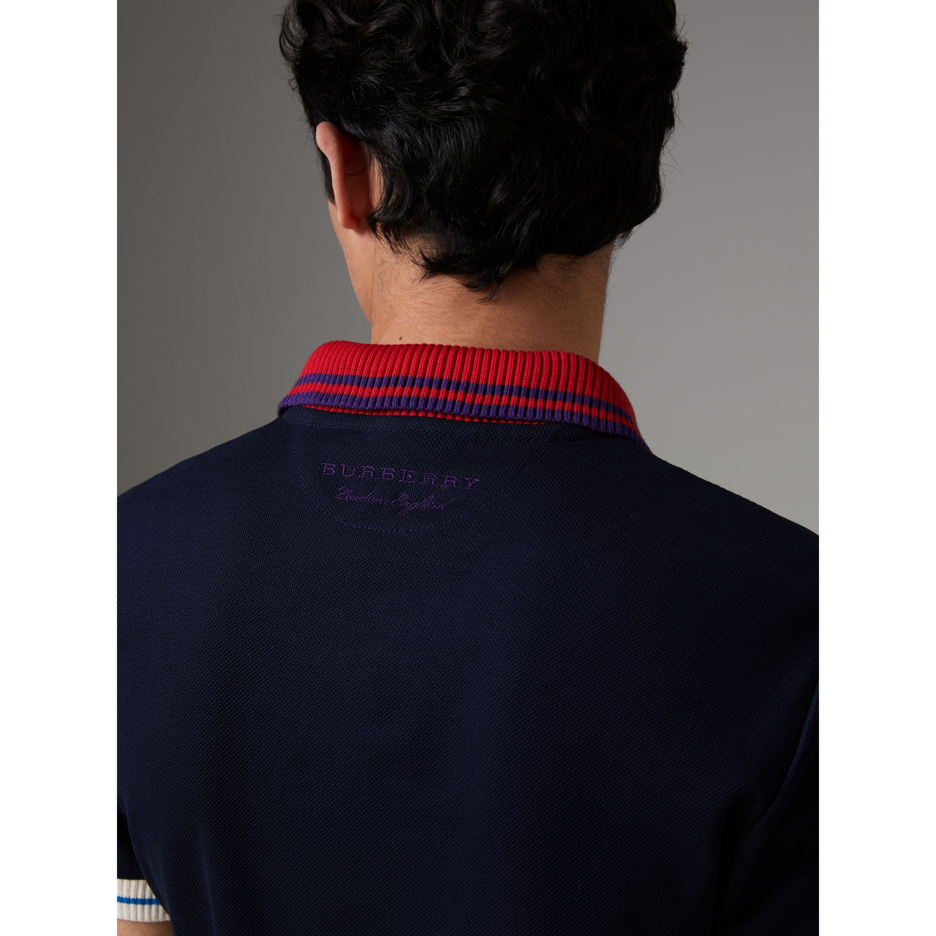 Two-tone Stripe Knitted Detail Cotton Polo Shirt in Navy - Men | Burberry - gallery image 4