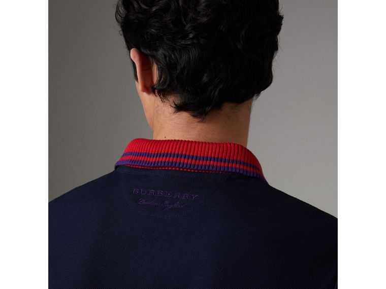 Two-tone Stripe Knitted Detail Cotton Polo Shirt in Navy - Men | Burberry Australia - cell image 4