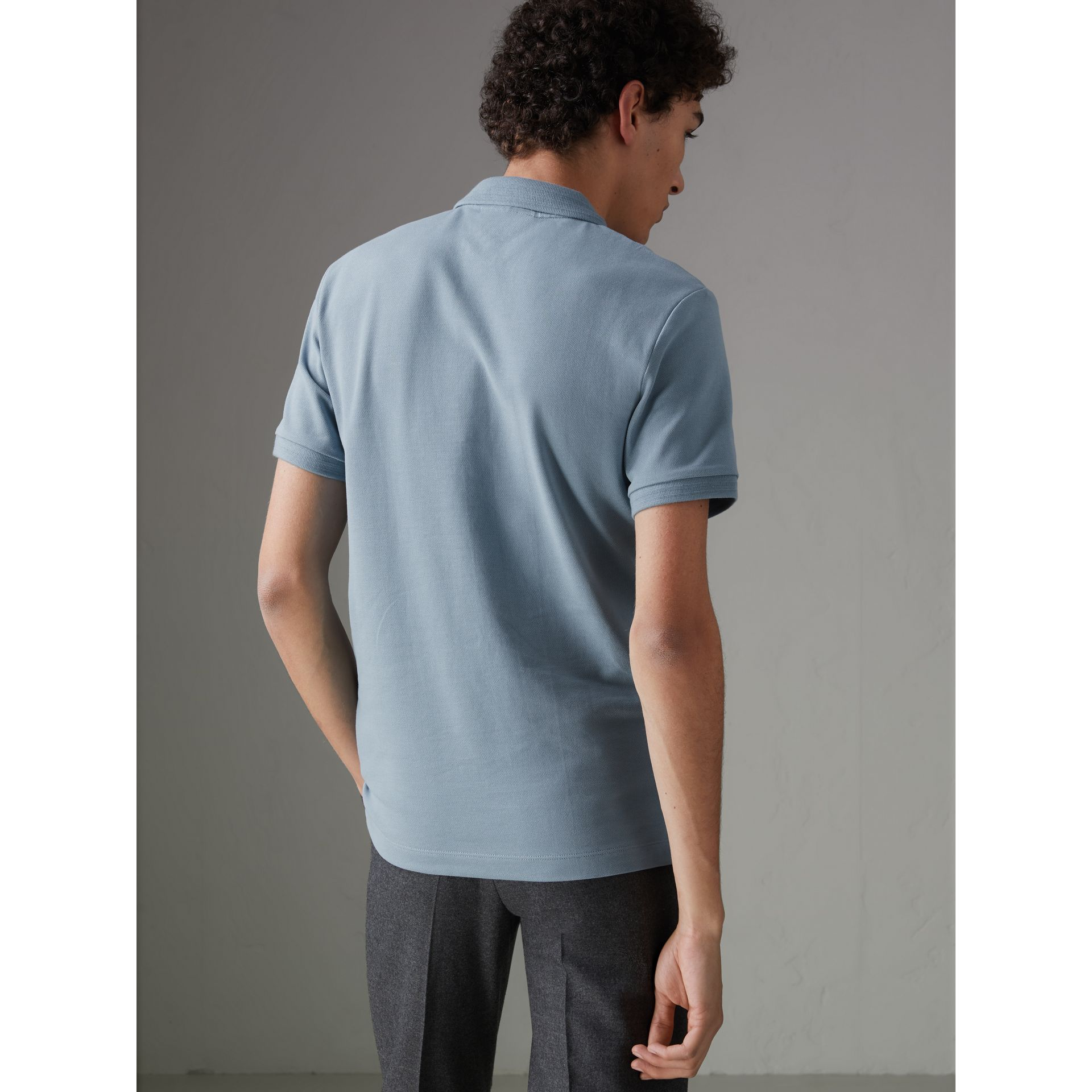 Print Trim Cotton Piqué Polo Shirt in Dusty Teal Blue - Men | Burberry United Kingdom - gallery image 2