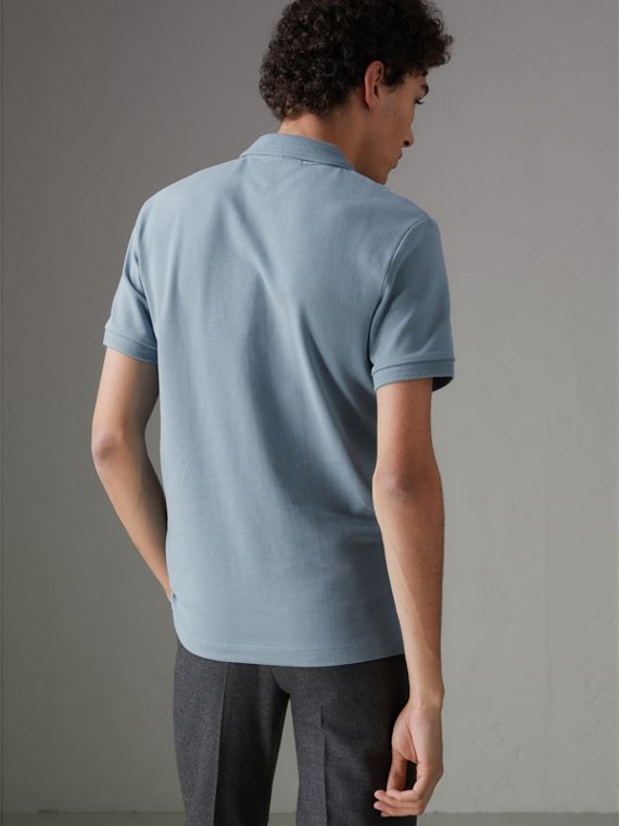 Print Trim Cotton Piqué Polo Shirt in Dusty Teal Blue - Men | Burberry - cell image 2