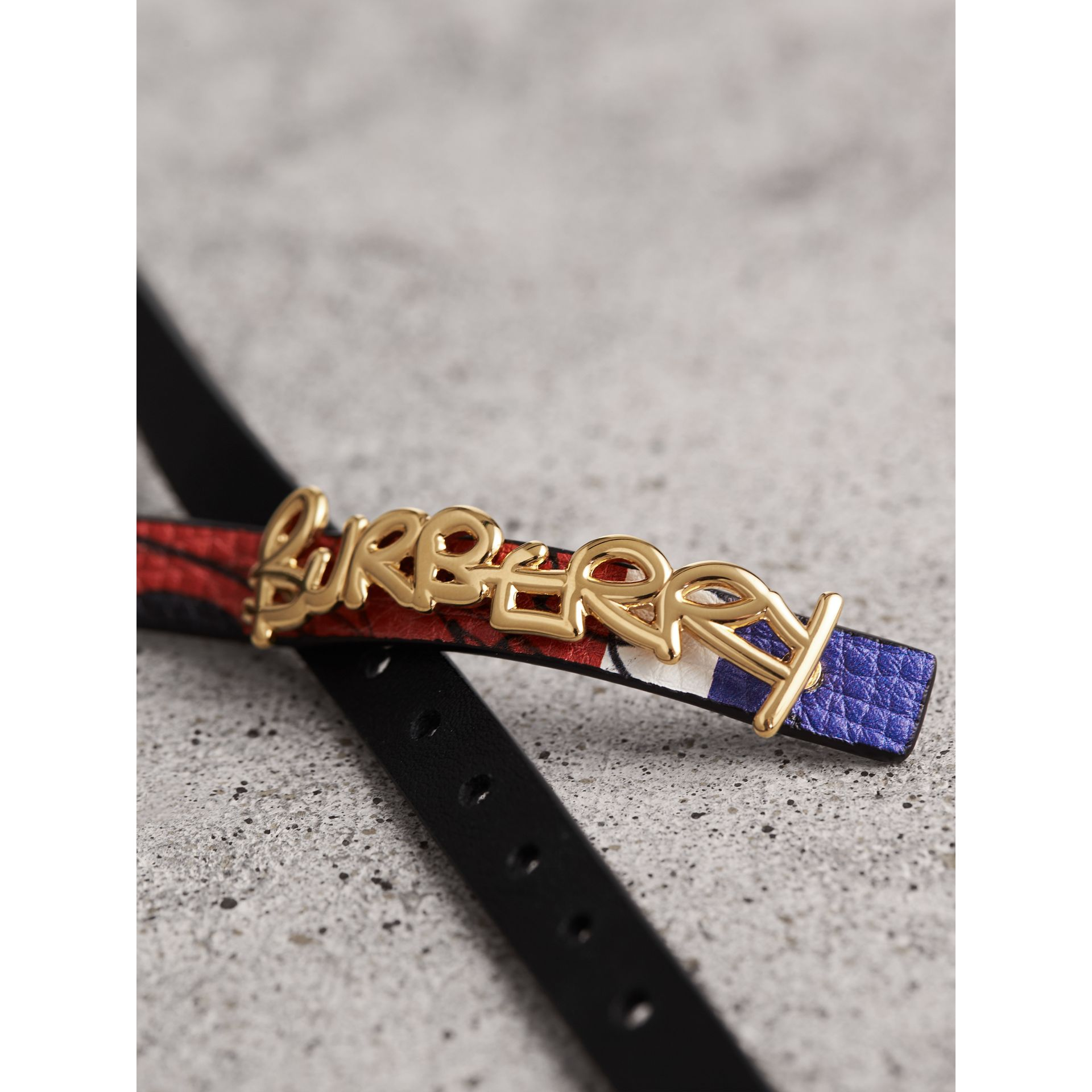 Doodle Detail Reversible Leather  Bracelet in Red/blue - Women | Burberry United Kingdom - gallery image 2