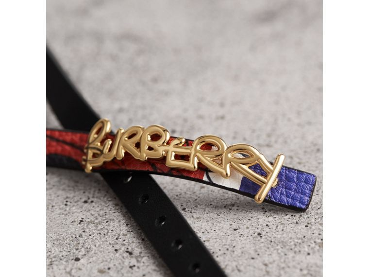 Doodle Detail Reversible Leather  Bracelet in Red/blue - Women | Burberry United Kingdom - cell image 1